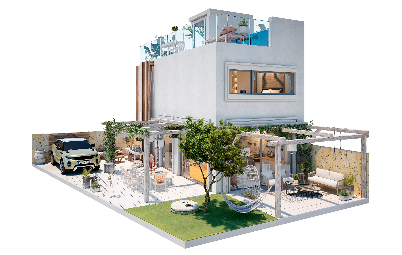 Cada vivienda tiene una superficie construida de 93 m2 distribuidos en planta baja y planta primera